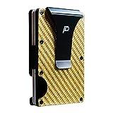 Rfid Wallet Women, Credit Card Holder Wallet for Men, PL Small Carbon Fiber front Pocket Wallet for Women Money Clip (Lemon yellow)