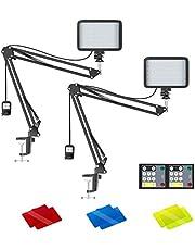 Neewer 2 stuks LED-verlichtingsset met afstandsbediening voor zoom-oproepvergadering/externe werking/zelfoverdracht/live-streaming: 3200K-5600K dimbaar LED-videolicht met schaararmstandaard/kleurfilters