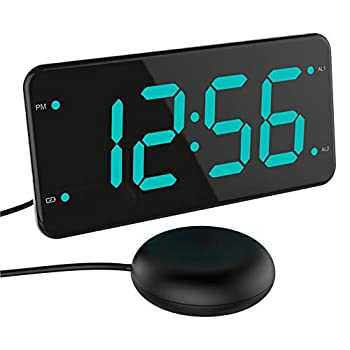 Loud Alarm Clock with Bed Shaker Vibrating Alarm Clock for Heavy Sleepers Deaf and Hard of Hearing Dual Alarm Clock 2 Charger Ports 7-Inch Display Full Range Dimmer and Battery Backup - Green