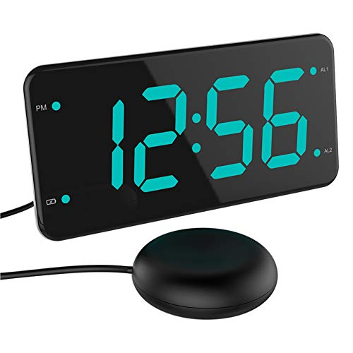 Loud Alarm Clock with Bed Shaker, Vibrating Alarm Clock for Heavy Sleepers, Deaf and Hard of Hearing, Dual Alarm Clock, 2 Charger Ports, 7-Inch Display, Full Range Dimmer and Battery Backup - Green