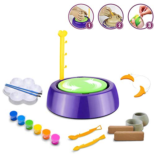 BuddynBuddies- Pottery Studio, Clay Pottery Wheel Craft Kid for Kids Age 8 and Up, Air Dry Sculpting Clay and Craft Paint kit for Kids, Educational Toy for Kids Beginners