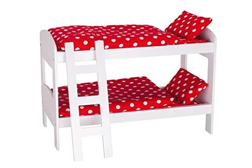 Goki 51552 Puppen-Etagenbett mit Leiter in rot/weiß, gemischt