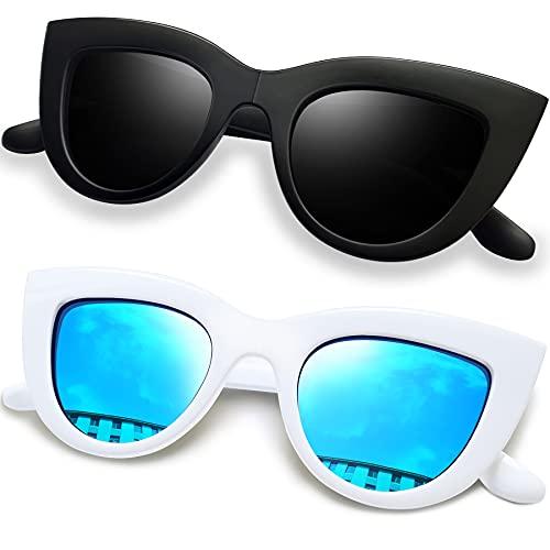 Joopin Gafas de Sol Mujer Ojos de Gato Retro UV400 Gafas Polarizadas de Moda Cateye Estilo Vintage (Negro+Azul)