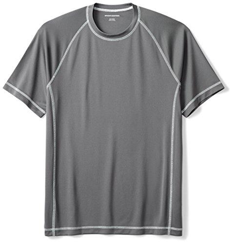 Amazon Essentials Men's Short-Sleeve Loose-Fit Quick-Dry UPF 50 Swim Tee, Charcoal, XX-Large