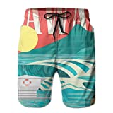 Photo de Men's Sports Beach Shorts Board Shorts,Hawaii Sandy Coastline Sunny Day Surfboard Tropics Famous Honeymoon Destination,Surfing Swimming Trunks Bathing Suits Swimwear,XL par