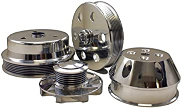 Compatible/Replacement for CHEVY SMALL BLOCK BILLET LONG WATER PUMP SERPENTINE PULLEY SET - POLISHED