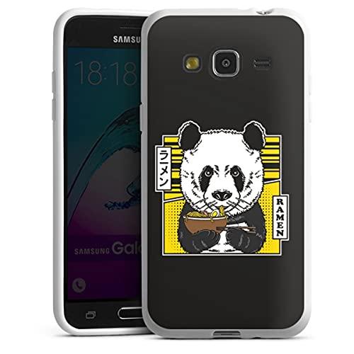Silikon Hülle kompatibel mit Samsung Galaxy J3 Duos 2016 Hülle weiß Handyhülle Panda Design Japan