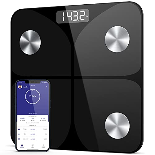 Digital Body Weight Bathroom Scale, Smart Body Composition Scales for Body Weight, Digital Scale with Wireless Smartphone App Sync for Weight, Body Water, BMI, Muscle Mass, Max 400lb