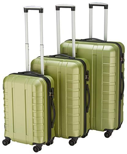 Pure - Hartschalen-Koffer Hugo | 3-teiliges Trolley-Set | Reisekoffer mit 4 Rollen und TSA-Schloss in den Größen S, M & L | Grün