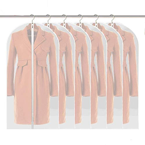 Linseray 6 Pack Hanging Garment Bag, 60 x 120cm Suit Bags Breathable Moth Proof Garment Cover with Full Zipper for Long Dress Dance Costumes Suits Gowns Coats