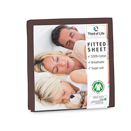 Spannbettlaken 140x200 cm aus 100% Oekotex-Baumwolle, GOTS zertifiziert I Das atmungsaktive & fusselfreie Bettlaken ALBA ist elastisch & weich I Designed in Germany I 20 cm Höhe, dunkelbraun