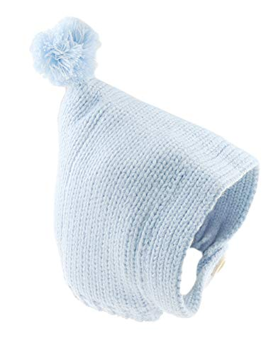 Glamour Girlz Bonnet super doux pour bébé fille garçon chaud d'hiver moelleux à l'intérieur en grosse maille torsadée avec bouton (bleu, 0-3 mois)