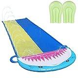 xiaohuangren Wasserbahn Shark Spray Wasserrutsche Aus PVC Mit 2 Wasserskiern, Regenbogen Slip Slide...