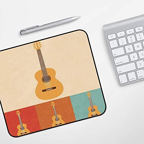 Gaming Mousepad Mauspad,Gitarre, Retro Icons Akustikgitarren in bunten Rahmen Nostalgische Musik Saiteninstrument Dekorativ, Multicolo,Komfort Mousepad - verbessert Präzision und Geschwindigkeit