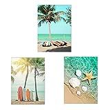 Verano playa viaje paisaje pared arte cartel coche lienzo pintura estrella de mar concha árbol de coco arte impresión decoración del hogar 30x40cmX3PCS sin marco