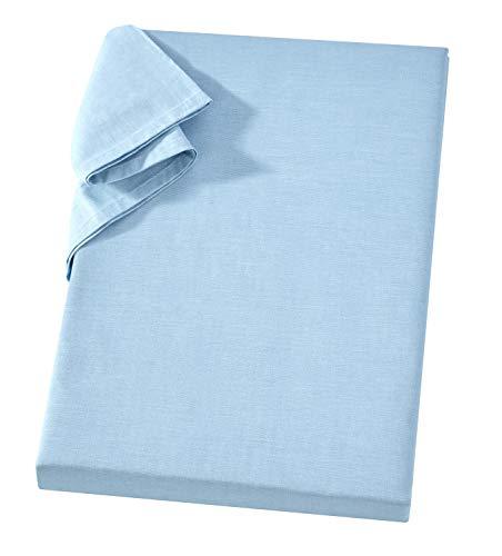 Griffiges Linon Leintuch ohne Gummizug 150 x 250 cm Hellblau 100 % Baumwolle Vielseitiges Haushaltstuch Strandtuch Sofa- und Sessel-Überwurf Linon Überwurf Linon Haushaltstuch Linon-Bettlaken
