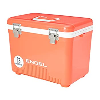 Engel 13 Quart Compact Durable Ultimate Leak Proof Outdoor Dry Box Cooler in Coral with Stain and Odor-Resistant Surface for 18 Cans or 12 lbs of Ice