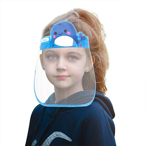 Oufenli(TM) Clear Face Guard Kids Cartoon Transparent Safety Protection Caps, Cute Anti-Fog Visible Face Covering Eye Shield for Outdoor Activities & School Supplies (1 PC, Blue Whale)