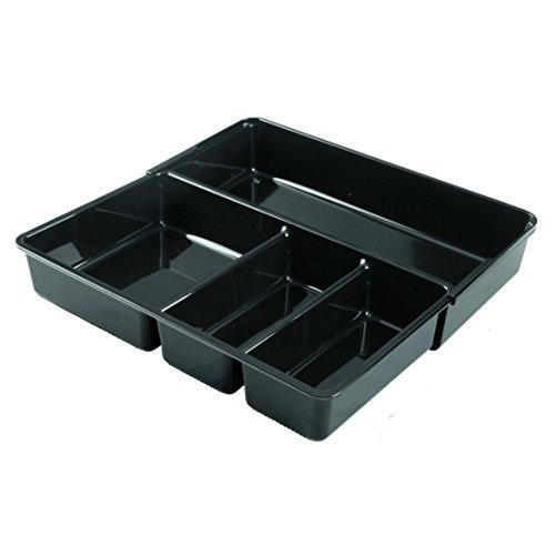 iDesign 67937EU Rangement de tiroir de Cuisine Linus Kitchen pour Couverts, spatules, Objets divers-30, Noir, Plastique, Black, 30,5 x 17,8 x 5,8 cm