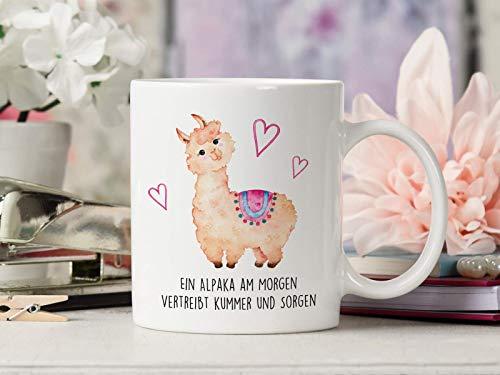 Tasse mit Spruch Ein Alpaka am Morgen vertreibt Kummer und Sorgen