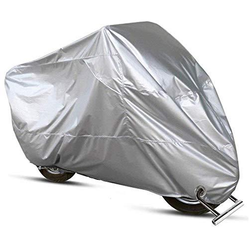 Motorrad Abdeckplane, Allwetter Motorradabdeckung im Freien 210D Wasserdicht, staubdicht, UV-Schutz, atmungsaktiv, mit Verschlusslöchern und winddichtem Gurt, für Motorrad Motorroller Silber XXL