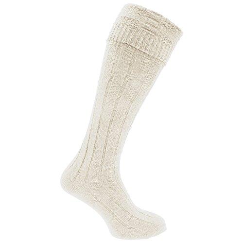 Universal Textiles Scottish Highland Wear Herren Kniestrümpfe mit Woll-Anteil, 1 Paar (39-45 EU) (Creme)