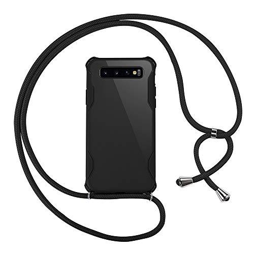 xinyunew Custodia per Cellulare Girocollo per Samsung Galaxy S10 Case Case Tracolla Necklace Cordoncino Custodia con Cordino per Apple Samsung Galaxy S10 Nero