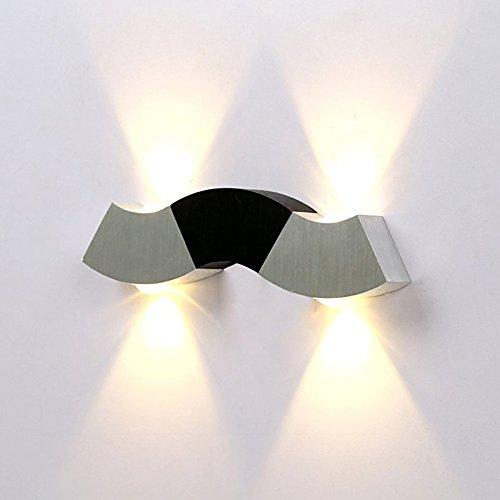 GUORZOM Appliques Murales LED Moderne, Éclairage Murale LED 3000K Blanc Chaud 4 * 1W, Design Up & Down Aluminium, [Classe Energétique A