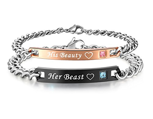 His or Hers Matching Set His Beauty Her Beast Titanium Stainless Steel Couple Bracelet in a Gift Box (A PAIR)