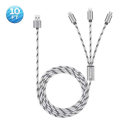 3meters Multi Ladekabel Bolatus Universal USB Kabel 3 in 1 Nylon Mehrfach Handy Ladegerät Adapter Lang Kabel mit Typ C Micro USB Kompatibel mit Smartphone, Tablets und mehr (1Pack*10FT)