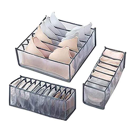 Juego de 3 organizadores de cajones de ropa interior, sujetador, calcetines, bragas, cajas de almacenamiento, organizadores de armario, armario, para armario plegable, separador de cajones (Gris)