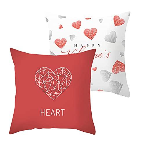 2 Pack Fundas de Cojín Corazón rojo Terciopelo Suave Funda de Almohada Cuadrado Fundas de Cojines para Sofá Cama Dormitorio Coche Sillas Decoración Hogar Throw Pillow Case J3535 Pillowcase_50x50cm