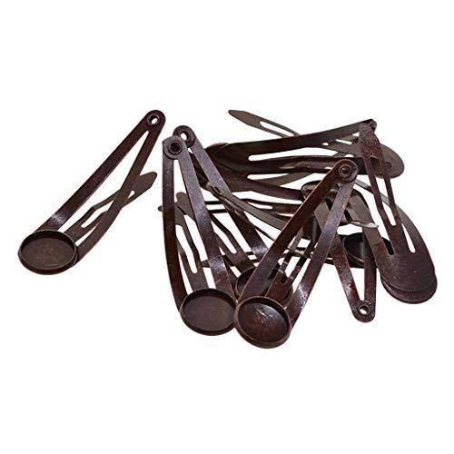 Hellery 10 STÜCKE Haarspangen Haarspangen Snap 12mm Runde Cabochon Blank Base DIY Entdeckungen - Rotes Kupfer