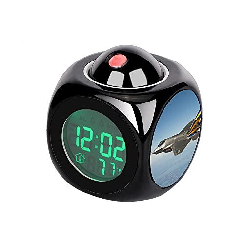 Proyección Digital Niños Negro Despertador Proyector LED Termómetro Temperatura Escritorio Hora Fecha Pantalla Mesa Reloj Gris Azul y Amarillo Azul Marino F 35 Avión de Combate Volando en