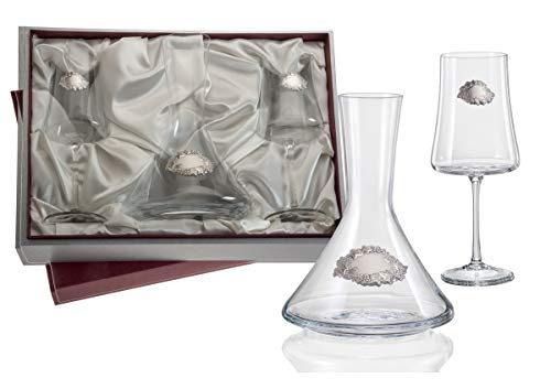 El Faro Juego de Vino Personalizado con decantador decoración Plata bilaminada 925