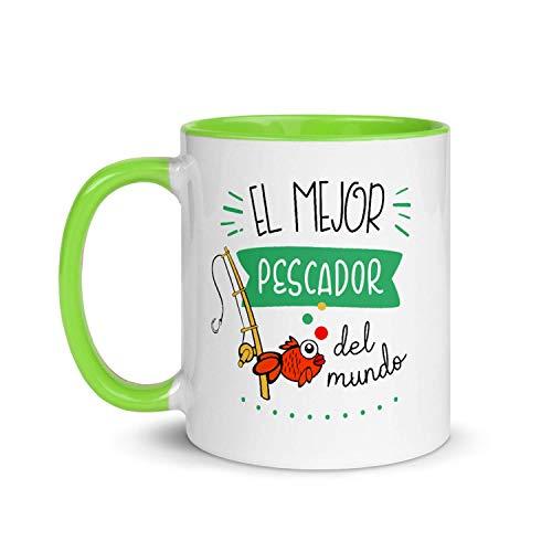Kembilove Taza de Desayuno del Mejor Pescador del Mundo – Tazas de Café para Profesionales y Trabajadores para la Oficina – Tazas de Té en Color de Profesiones – Taza de Cerámica de 350 ml