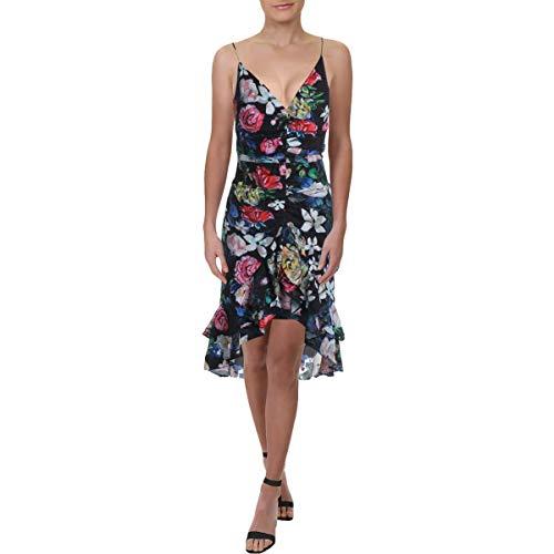Price comparison product image Aidan by Aidan Mattox Womens Floral Print Ruffled Cocktail Dress Black 10