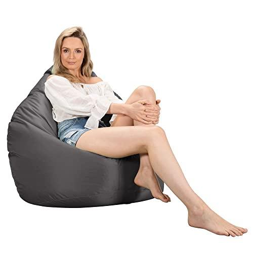 Big Bertha Original, Gaming Sitzsack Sessel mit Hocker, Schiefergrau