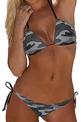 Auplkocq Damen Army Camouflage Bikini Set Dreieck Krawatte Seite Tanga Bottom 2PCS Badeanzüge Grau M.
