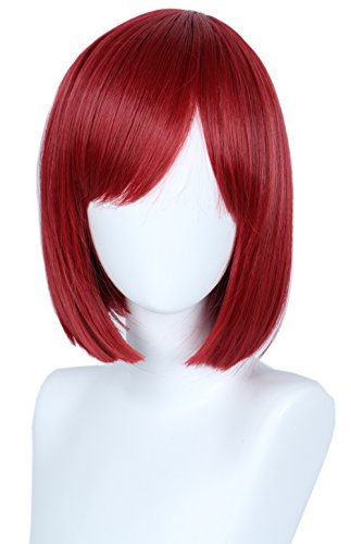 Linfairy Unisex Straight Short Red Cosplay Wig Halloween Costume Bob Wig for Women