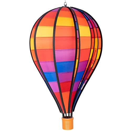 CIM Windspiel - Heißluftballon Patchwork - wetterbeständig - Ballon:Ø28cm x 48cm| Korb: 4.5cm x 4cm - kugelgelagerte Aufhängung (Patchwork) | Garten > Dekoration > Windspiele | CIM