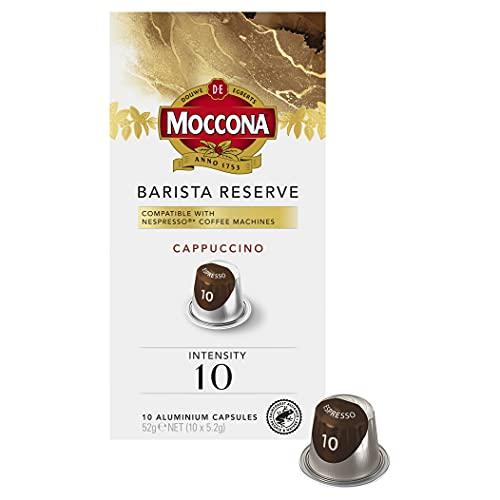 Moccona Barista Reserve Cappuccino - Intensity 10 - 100 Aluminium Capsules Compatible with Nespresso Machines (10x10 Capsules)