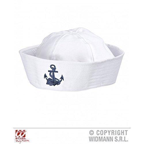 Chapeau marin blanc avec une bleue ancre brodée
