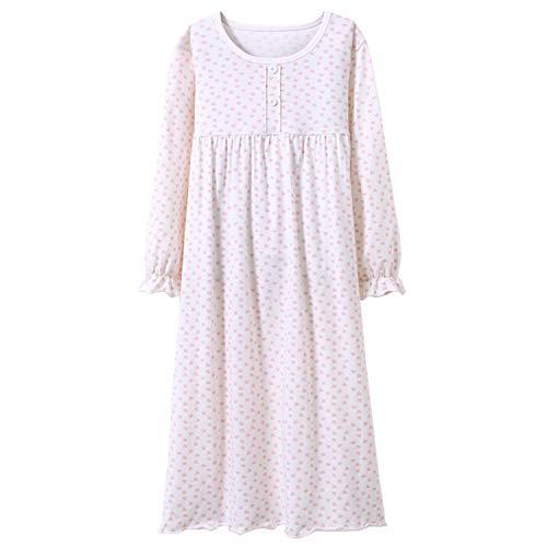Allmeingeld Teen Mädchen Prinzessin Nachthemden Herz Print Schlafhemden Urlaub Nachthemd Weiß 12
