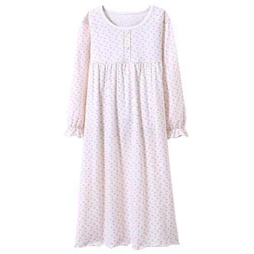 Prinzessin Nachthemden für Mädchen Langarm Kinder Schlafanzüge Rundkragen Weiß 7 Jahre