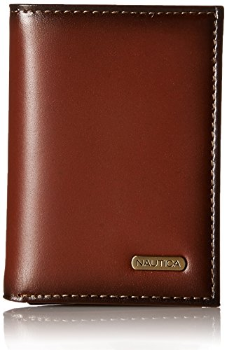 Nautica Men's Extra Large Capacity Trifold Leather Wallet, Tan
