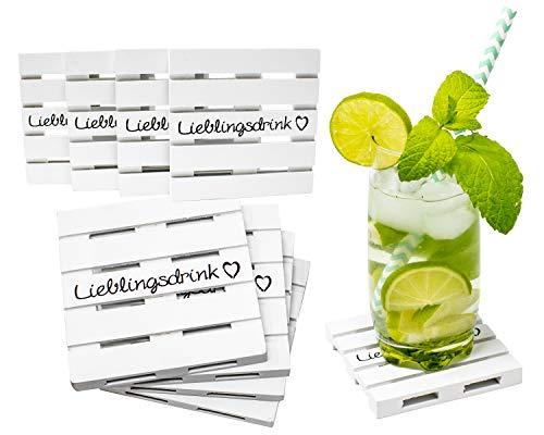 Selldorado® 8 sottobicchieri in vetro con design in legno, mini pallet per bevande, pallet, sottobicchieri, vintage, 9,7 x 9,7 x 1 cm (8 pezzi)