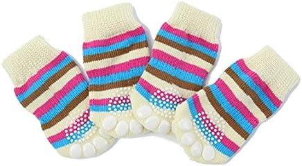 Pink, L : Dog Pet Shoes Non-Slip Socks S M L XL Multi-Colors -Puppy Shoes Doggie Clothing