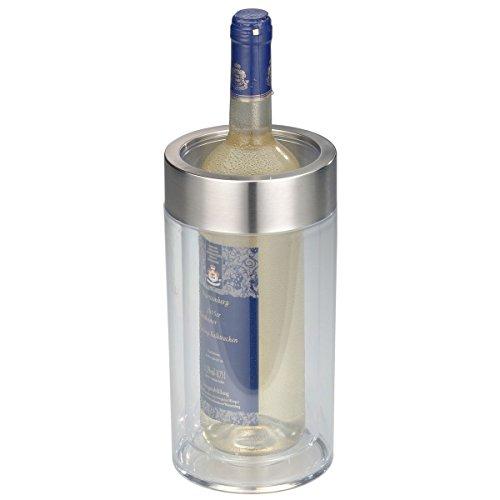 axentia Flaschenkühler transparent, Behälter zum Kühlen von Wein, Sekt, Champagner oder Softdrinks, Getränkekühler doppelwandig, Maße: ca. Ø 12  x H 23 cm