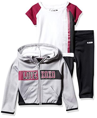 XOXO Baby Girls Hoodie, Tee & Legging Set, Heather Gray Black Raspberry, 18M